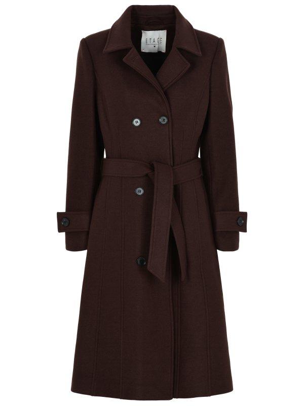 Lang uldjakke fra Etage med stræk – mørkebrun
